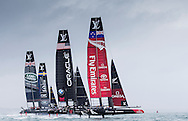 Image licensed to Lloyd Images. Free for editorial use. <br /> Pictures of Official Practice Day 24.07.15 - Land Rover BAR Racing Team skippered by Sir Ben Ainslie (GBR)  Artemis Racing skippered by Nathan Outteridge  Oracle Team USA skippered by Jimmy Spithill, Emirates Team New Zealand skippered by Glenn Ashby <br /> Credit: Lloyd Images