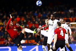 December 12, 2018 - Valencia, Spain - Marcos Rojo of Manchester United  (L) and Batshuayi  of Valencia CF   during UEFA Champions League Group H between Valencia CF and Manchester United at Mestalla stadium  on December 12, 2018. (Photo by Jose Miguel Fernandez/NurPhoto) (Credit Image: © Jose Miguel Fernandez/NurPhoto via ZUMA Press)