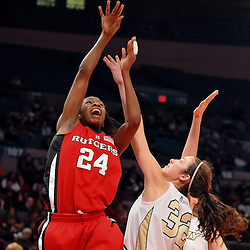 Dec 14, 2008; New York, NY, USA; Rutgers forward Myia McCurdy (24) fires a shot over Army's Erin Anthony during the first half or Rutgers' 59-38 victory over Army in the Maggie Dixon Classic at Madison Square Garden.
