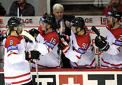 Brent Burns (8), Jonathan Toews (16), coach Ken Hitchcock, Jason Spezza (91) and Jason Chimera of Canada at ice-hockey game Canada vs Finland at Qualifying round Group F of IIHF WC 2008 in Halifax, on May 12, 2008 in Metro Center, Halifax, Nova Scotia, Canada. Canada won. (Photo by Vid Ponikvar / Sportal Images)
