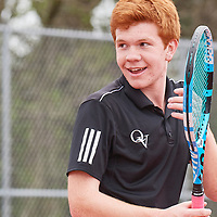 Wexford, PA - April 28:  During the Quaker Valley High School Varsity Boys Western Pennsylvania Interscholastic Athletic League Doubles Championship on April 28, 2021 at North Allegheny School District tennis courts in Wexford, PA.  (Photo by Shelley Lipton)