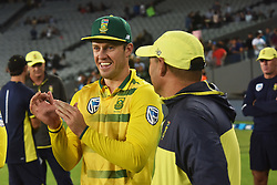 February 17, 2017 - Auckland, New Zealand - AB de Villiers of South Africa celebrates wining the international Twenty20 cricket match between South Africa and New Zealand in Auckland, New Zealand on Feb 17. (Credit Image: © Shirley Kwok/Pacific Press via ZUMA Wire)