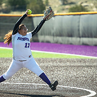 Mckenzye Daniels pitching for the Lady Patriots, Thursday, April 18 against Kirtland Central in Gallup.