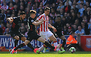 Stoke's Geoff Cameron battles with Liverpool's Emre Can and Ben Woodburn. Premier league match, Stoke City v Liverpool at the Bet365 Stadium in Stoke on Trent, Staffs on Saturday 8th April 2017.<br /> pic by Bradley Collyer, Andrew Orchard sports photography.