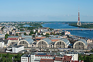 View from St Peter's Church spire, including the former zeppelin hangers of the Central Market, Riga, Latvia (May 2016) © Rudolf Abraham