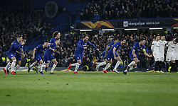 BRITAIN-LONDON-FOOTBALL-UEFA EUROPA LEAGUE-CHELSEA VS FRANKFURT.(190510) -- LONDON, May 10, 2019  Chelsea's players celebrate after winning the penalty shoot during the UEFA Europa League semi-final second leg match between Chelsea and Frankfurt in London, Britain on May 9, 2019.  FOR EDITORIAL USE ONLY. NOT FOR SALE FOR MARKETING OR ADVERTISING CAMPAIGNS. NO USE WITH UNAUTHORIZED AUDIO, VIDEO, DATA, FIXTURE LISTS, CLUBLEAGUE LOGOS OR ''LIVE'' SERVICES. ONLINE IN-MATCH USE LIMITED TO 45 IMAGES, NO VIDEO EMULATION. NO USE IN BETTING, GAMES OR SINGLE CLUBLEAGUEPLAYER PUBLICATIONS. (Credit Image: © Xinhua via ZUMA Wire)