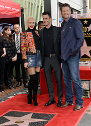Gwen Stefani and Blake Shelton attend the ceremony honoring Adam Levine with a star on the Hollywood Walk of Fame on February 5, 2017 in Los Angeles, California. Photo by Lionel Hahn/AbacaUsa.com