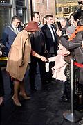 Koningin Maxima tijdens de opening van de tentoonstelling Basquiat, The Artist and His New York Scene in SCHUNCK museum, Heerrlen.<br /> <br /> Queen Maxima at the opening of the exhibition Basquiat, The Artist and His New York Scene at SCHUNCK museum<br /> <br /> Op de foto: <br /> <br />  Koningin Maxima bij aankomst / Arrival of Queen Maxima