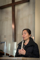 1 December 2019, Madrid, Spain: World Council of Churches programme executive Athena Peralta shares words of introduction, as representatives of various faiths gather in the Iglesia de Jesús (Church of Christ) of the Iglesia Evangélica Española (Evangelical Church of Spain) for an interfaith dialogue and prayer service on the eve of the United Nations climate conference (COP25) in Madrid, Spain.