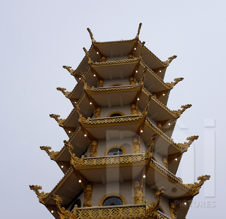 Architecture of a stupa at Nhi Vi Quan Nghe Temple, Hai Duong Province, Vietnam, Southeast Asia