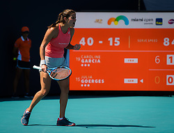 March 23, 2019 - Miami, FLORIDA, USA - Julia Goerges of Germany in action during her third-round match at the 2019 Miami Open WTA Premier Mandatory tennis tournament (Credit Image: © AFP7 via ZUMA Wire)