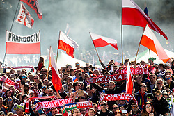 Supporters of Poland celebrate during the Ski Flying Hill Team Competition at Day 3 of FIS Ski Jumping World Cup Final 2019, on March 23, 2019 in Planica, Slovenia. Photo by Vid Ponikvar / Sportida