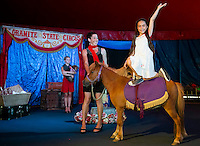 "Sara Greene and Gigi Greene with ""Zeus"" performing in the center ring of the Granite State Circus at Weirs Beach.  (Karen Bobotas/for the Laconia Daily Sun)"