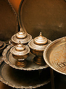 Metal works for sale in the medina of Fes, Morocco