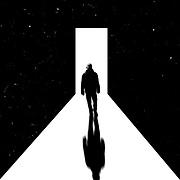Man walking towards light shining through a door - digital illustration