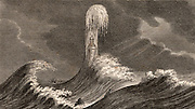 The fourth Eddystone lighthouse in heavy seas.  Built on the Stone 13 miles South-east of Polperro, Cornwall, England, which claimed up to 50 ships a year.  Built by  the English civil engineer John Smeaton (1724-1792) beginning in 1756 it was in operation for 127 years. Engraving  from 'The Gallery of Nature and Art' by the Rev. Edward Polehampton (London, 1814).