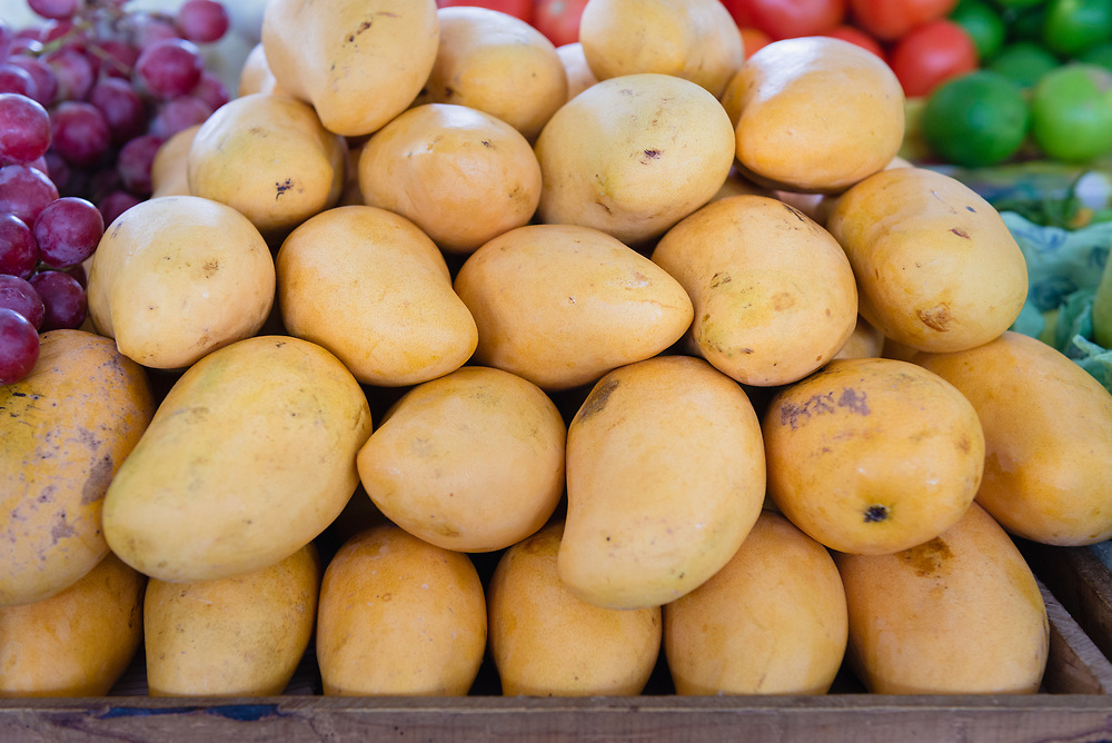 Mangoes for sale at a food market in Merida, Mexico