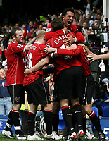 Photo: Paul Thomas.<br /> Everton v Manchester United. The Barclays Premiership. 28/04/2007.<br /> <br /> Kieran Richardson (Top) and his team-mates of Man Utd mop goal scorer Chris Eagles.