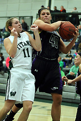 25 November 2014:  Moly McGraw and  Lisa Palmer during an NCAA women's division 3 CCIW basketball game between the Wisconsin Whitewater Warhawks and the Illinois Wesleyan Titans in Shirk Center, Bloomington IL