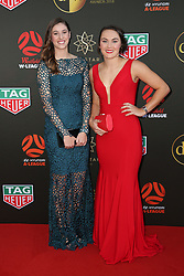 Players from the Westfield W-League and Hyundai A-League arrive on the red carpet for the 2018 Dolan Warren Awards at The Star Event Centre - 80 Pyrmont St, Pyrmont, NSW. 30 Apr 2018 Pictured: Amy Harrison, Caitlin Ford. Photo credit: Richard Milnes / MEGA TheMegaAgency.com +1 888 505 6342