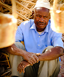 Portrait of a basket weaver photographed by the roadside in southern Morocco, North Africa<br /> <br /> (c) Andrew Wilson   Edinburgh Elite media