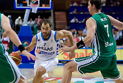 Vasileios Spanoulis of Greece vs Primoz Brezec (7) of Slovenia during the EuroBasket 2009 3rd place match between Slovenia and Greece, on September 20, 2009, in Arena Spodek, Katowice, Poland.   (Photo by Vid Ponikvar / Sportida)