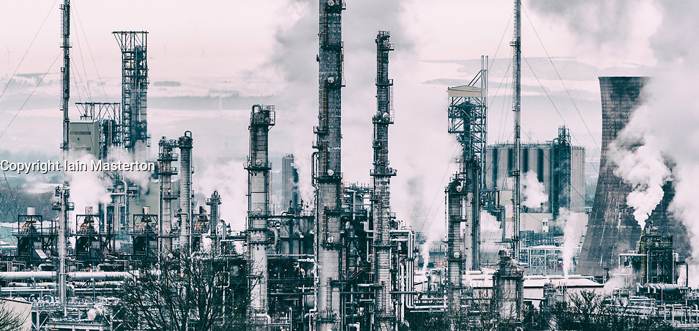 View of INEOS Grangemouth oil refinery  in Scotland, United Kingdom.