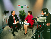 American, Television studio showing an interview in the 1970's