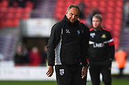 Steve Lovell of Gillingham (Manager) can't believe his eyes as Doncaster Rovers equalise in stoppage time to make it 3-3 during the EFL Sky Bet League 1 match between Doncaster Rovers and Gillingham at the Keepmoat Stadium, Doncaster, England on 20 October 2018.