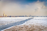 ST. PETERSBURG - CIRCA MARCH 2013:  Frozen Neva River in St. Petersburg, Circa March 2013. The city is a popular tourist destination with 221 museums, 2000 libraries, and 80  plus theaters within the city.