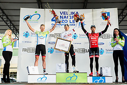 Second placed KUMP Marko (SLO)  of Slovenian National Team, Winner FORTIN Filippo (ITA)  of Tirol Cycling Team  and Third placed MUGERLI Matej (SLO)  of BMC Amplatz celebrate during trophy ceremony after the UCI Class 1.2 professional race 4th Grand Prix Izola, on February 26, 2017 in Stunjan, Slovenia. Photo by Vid Ponikvar / Sportida