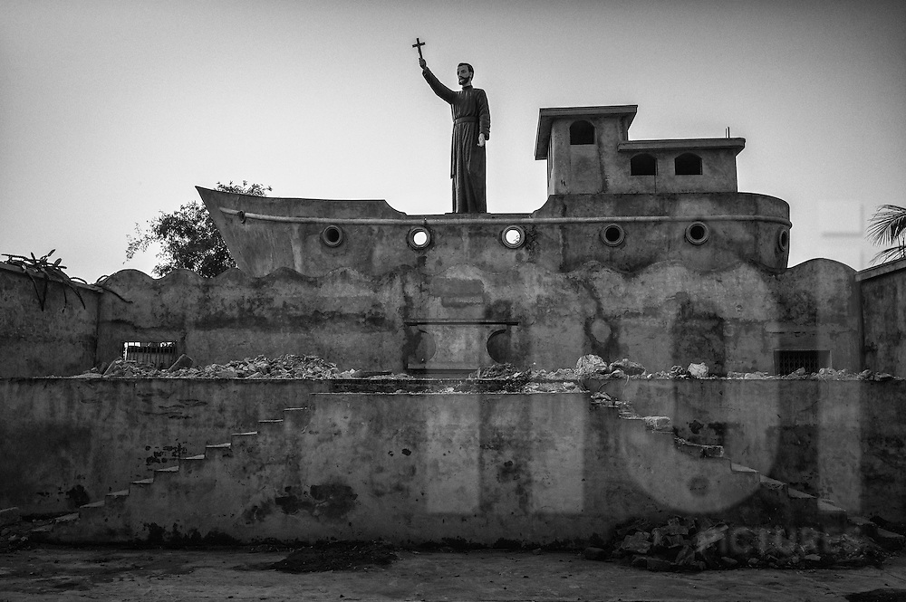 Noah's Arch scene beside a church along Road 21, Hai Hau District, Nam Dinh Province, Vietnam, Southeast Asia
