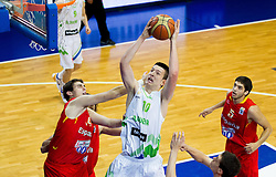 Julen Olaizola of Spain vs Alen Omic of Slovenia during basketball match between National teams of Slovenia and Spain in Qualifying Round of U20 Men European Championship Slovenia 2012, on July 18, 2012 in Domzale, Slovenia. (Photo by Vid Ponikvar / Sportida.com)