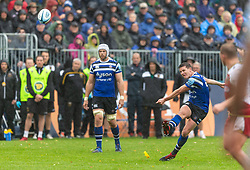 Bath's Freddie Burns misses a penalty during the Gallagher Premiership match at the Recreation Ground, Bath.