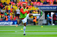 Vincent Kompany (4) of Manchester City warming up before the The FA Cup Final match between Manchester City and Watford at Wembley Stadium, London, England on 18 May 2019.