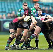 2004/05 Powergen Cup, Bath Rugby vs NEC Harlequins,18.12.2004, Bath, ENGLAND: Quins, Tony Diprose. playing No.8, collects end distributes the ball from the scrum.