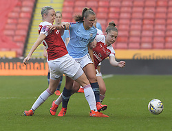 February 23, 2019 - Sheffield, England, United Kingdom - Georgia Stanway (Manchester City) blocked on both sides by Dominique Bloodworth and Kim Little (Arsenal) during the  FA Women's Continental League Cup Final  between Arsenal and Manchester City Women at the Bramall Lane Football Ground, Sheffield United FC Sheffield, Saturday 23rd February. (Credit Image: © Action Foto Sport/NurPhoto via ZUMA Press)