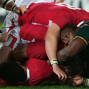 Tendai Mtawarira, South Africa (right), in action during the Wales V South Africa, Pool D match during the Rugby World Cup in Wellington, New Zealand,. 11th September 2011. Photo Tim Clayton