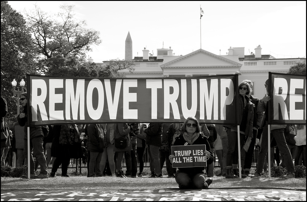 A group called Remove Trump, committed to a nonviolent convergence, met at the White House every day at noon and 6pm from November 2-11, 2019, to demand Trump's immediate removal from office. They unfurled The Impeachment Clause in Lafayette Park and stood in silent vigil in front of the White House where they invited passer-by's to pick up signs and join them.