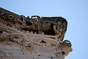 Detail of facade, Saint Mark's (Sveti Marko) Cathedral, with gargoyles and mythical beasts. Korcula old town, island of Korcula, Croatia