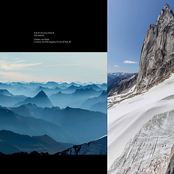 A 2-page spread in the summer 2021 Kootenay Mountain Culture magazine of Jon Walsh on his new route Gravy Train in the Bugaboos and the views from Mt Robson.