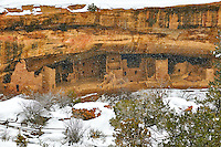Spruce Tree House cliff dwelling in the winter. Mesa Verde National Park. Image taken with a Nikon D300 camera and 18-300 mm VR lens (ISO 320, 50 mm, f/8. 1/250 sec).
