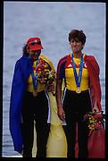 Sydney, AUSTRALIA, Gold Medalist ROM W2-, Bow, Georgeta DAMIAN - ANDRUNACHE  and Doina IGNAT. awards dock. 2000 Olympic Regatta, West Lakes Penrith. NSW.  [Mandatory Credit. Peter Spurrier/Intersport Images] Sydney International Regatta Centre (SIRC) 2000 Olympic Rowing Regatta00085138.tif