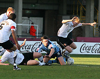 Photo:Mark Stephenson,Herford united v Port vale.<br />fa cup 2-11-2006.Vales  Danny Sonner is tackeled(centre) is tackeled by Herefords Allan Connell.