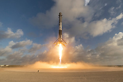 May 1, 2017 - Cape Canaveral, Florida, U.S. - Falcon 9 (used in NROL-76 Mission) is a family of two-stage-to-orbit launch vehicles, named for its use of nine first-stage engines, designed and manufactured by SpaceX. The Falcon 9 versions are the Falcon 9 v1.0 (retired), Falcon 9 v1.1 (retired), and the current Falcon 9 Full Thrust, a partially-reusable launch system. Both stages are powered by rocket engines that burn liquid oxygen (LOX) and rocket-grade kerosene (RP-1) propellants. The first stage is designed to be reusable, while the second stage is not. The Falcon 9 versions are in the medium-lift to heavy-lift range of launch systems. The current Falcon 9 (Full Thrust') can lift payloads of up to 22,800 kilograms (50,300 lb) to low Earth orbit, and up to 8,300 kilograms (18,300 lb) to geostationary transfer orbit. (Credit Image: ? SpaceX/SpaceX via ZUMA Wire/ZUMAPRESS.com)