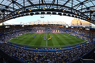 the two teams walk onto the pitch from the tunnel before k/o. EFL Cup 2nd round match, Chelsea v Bristol Rovers at Stamford Bridge in London on Tuesday 23rd August 2016.<br /> pic by John Patrick Fletcher, Andrew Orchard sports photography.