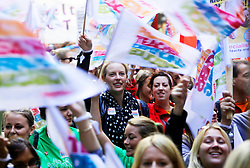 Licensed to London News Pictures 17/10/2013<br /> London. UK. <br /> Teachers on strike march through central London, protesting against pay cuts. <br /> Photo credit: Anna Branthwaite/LNP