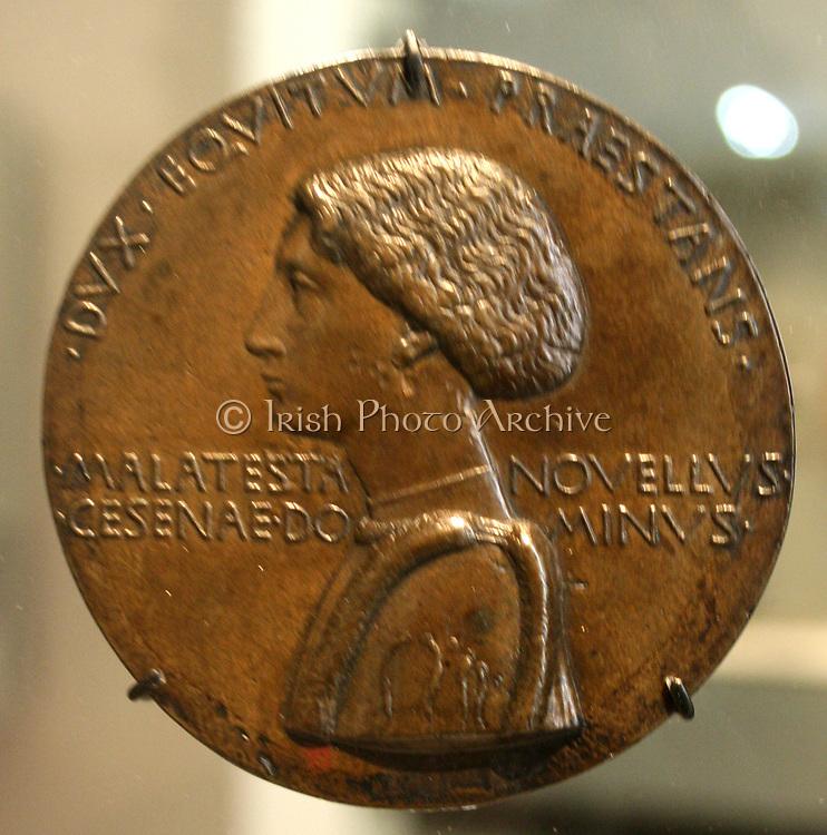 Portrait medal/coin of Domenico Novello Malatesta in relief by Pisanello. Circa 1445. Verona, Italy. Latin inscription.