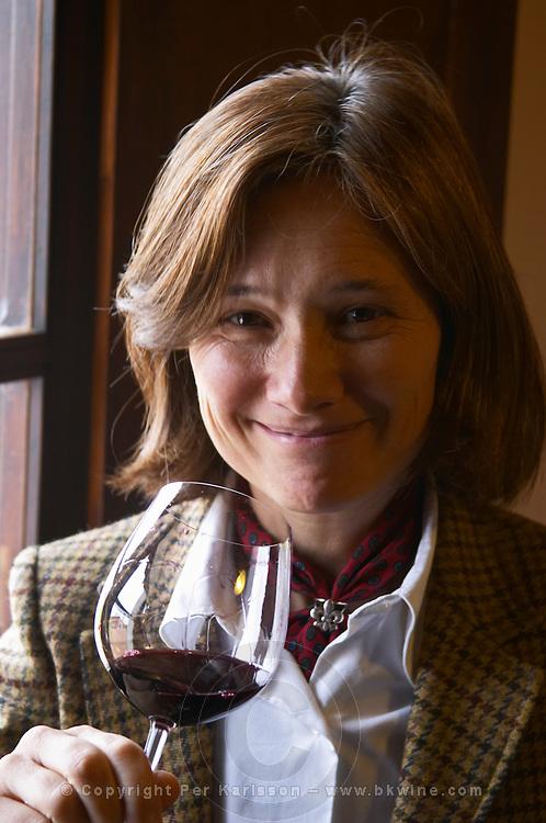 Elisa Trabal de Bouza owner, tasting a glass of wine. Bodega Bouza Winery, Canelones, Montevideo, Uruguay, South America
