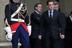 France's President Nicolas Sarkozy, Claude Gueant and Diplomatic advisor Jean-David Levitte at the Elysee Palace in Paris, prior to a dinner, on April 22, 2008. Photo by Mehdi Taamallah/ABACAPRESS.COM